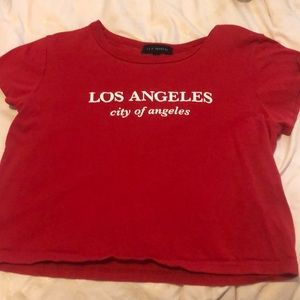 A red crop top t shirt from pacsun